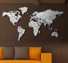 Planisfero da parete colore legno sbiancato 2m con scritte
