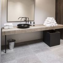 Mensola bagno in legno massello 200 x 45 cm