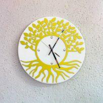 Orologio da parete albero della vita - Bianco / giallo