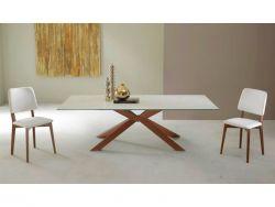Tavolo Mikado Eurosedia fisso 160x90 gambe corten e piana  in vetro bianco