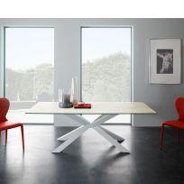 Tavolo Mikado Eurosedia fisso 160x90 gambe bianca e piana  in vetro bianco