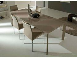 Tavolo Freedom Eurosedia 130x85 struttura tortora e piana vetro tortora