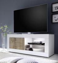 Porta Tv linea Basic colore Bianco lucido e Pero