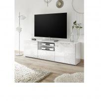 Porta Tv India a 2 ante e 1 cassetto in bianco laccato lucido serigrafato