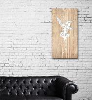 Quadro in legno chiaro Colibrì