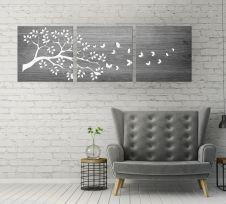 Trittico a doppio pannello floreale, legno sbiancato