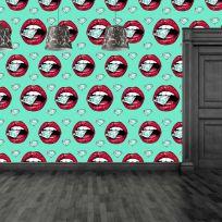 Carta da parati decorativa pop art effetto labbra con diamanti