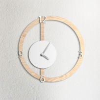 Orologio da parete HALO, effetto legno chiaro e bianco