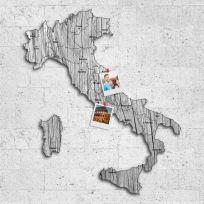 Quadro mappa Italia in legno colore legno sbiancato
