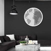 Planisfero diamentro 90 cm finitura bianco e nero