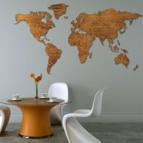 Planisfero da parete colore legno scuro 2 metri