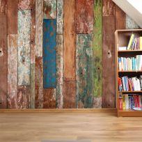 Carta da parati assi di legno colorate