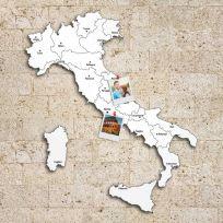 Quadro mappa Italia in legno colore bianco