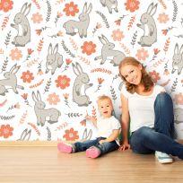 Carta da parati Baby collection Coniglietti illustrati