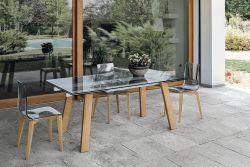 Tavolo allungabile Giove in finitura Grafite Trasparente con struttura in legno L 180