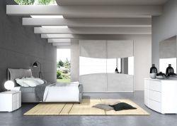 Camera Matrimoniale Luna Laccato Bianco Cemento