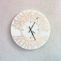 Orologio da parete albero della vita - bianco / legno naturale