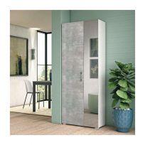 Scarpiera Vins linea Classic 2 ante battenti in Bianco frassino e cemento con specchio