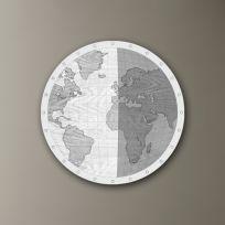 Planisfero diamentro 60 cm  finitura legno sbiancato