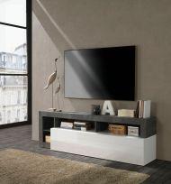 Porta Tv linea Frame in Bianco Lucido e Ossido