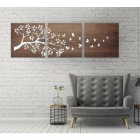 Trittico a doppio pannello floreale, legno scuro