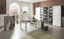 Ufficio completo in finitura Cemento e Bianco Laccato