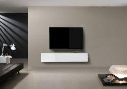 Porta Tv sospeso con 1 anta a ribalta in Bianco Lucido