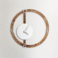 Orologio da parete HALO, effetto legno scuro e bianco