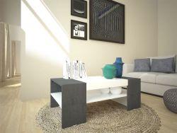 Tavolino Cherry bianco/pietra