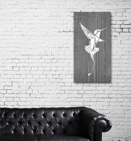 Quadro in legno sbiancato grigio Colibrì