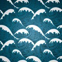 Carta da parati decorativa Japan wave