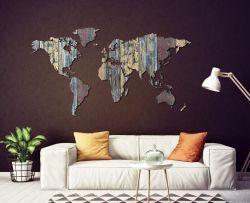 Planisfero da parete 2,5 metri - legno vintage colorato