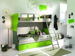 Letto a castello Poli linea Colorfull in Betulla e  Verde