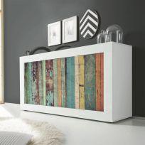 Madia Color Wood Linea Fancy finitura Bianco lucido con Serigrafia