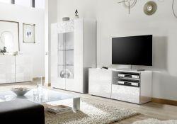 Porta Tv India a 1 anta e 1 cassetto in bianco laccato lucido serigrafato