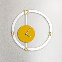Orologio da parete HALO, bianco e giallo ocra