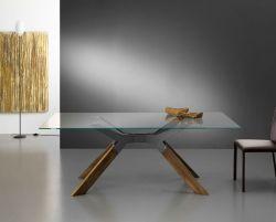 Tavolo Steel 160x90 cm con piano trasparente e gambe color rovere