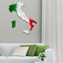 Quadro mappa Italia in legno colorato bandiera