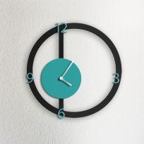 Orologio da parete HALO, nero e acquamarina
