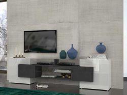 Porta TV SLAVE bianco lucido/effetto pietra
