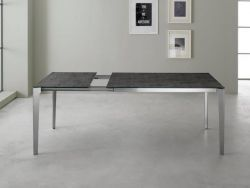 Tavolo Vertigo Eurosedia 160x85 struttura simil cromo e piana vetro cemento