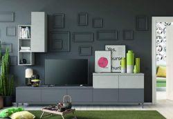 Parete attrezzata con porta tv grigio titanio e grid, 17 colorazioni