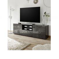 Porta Tv India a 2 ante e 1 cassetto in grigio serigrafato