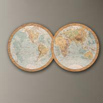 Planisfero in legno, larghezza 1,7 metri, mappa vintage colorata