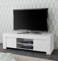 Porta Tv 2 ante linea Clear in Bianco Opaco
