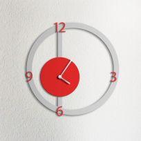 Orologio da parete HALO, grigio e rosso