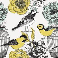 Carta da parati floreale con uccelli illustrati