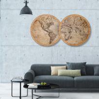Planisfero in legno, larghezza 1,7 metri, mappa vintage