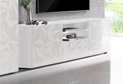 Porta Tv linea Prisma a 2 ante e 1 cassetto in Bianco Laccato Lucido Serigrafato