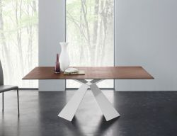 Tavolo Tokyo 160x90 cm struttura bianco e piano corten